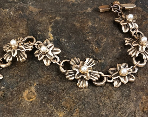 Bronze Botanical Link Bracelet with Pearls