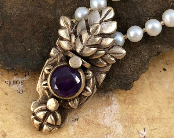 Historically Inspired bronze pendant necklace with Purple Cubic Zirconia