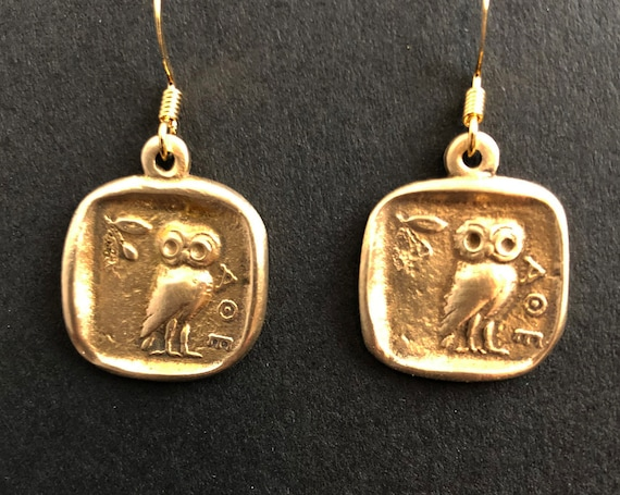 Bronze Athena Owl Earrings
