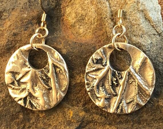 Round bronze botanical disc earrings