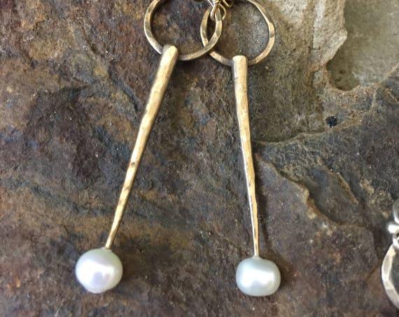 Bronze and Pearl Spike Earrings