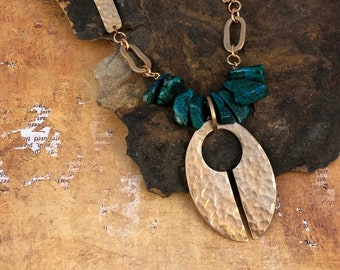 Hand Hammered bronze oval pendant Necklace with Chrysocolla