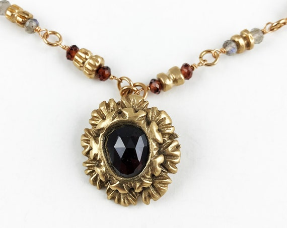 Historically inspired rose cut garnet pendant necklace