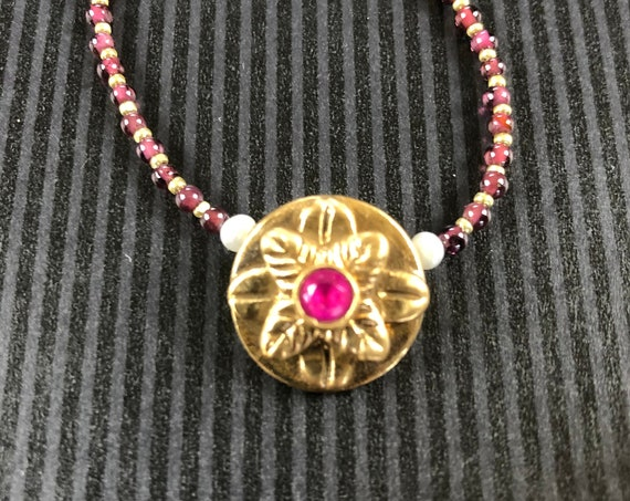Historically Inspired Carved Bronze, Pearl and Ruby Necklace
