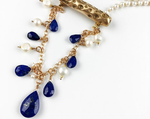 Branch with Lapis and  pearl cluster