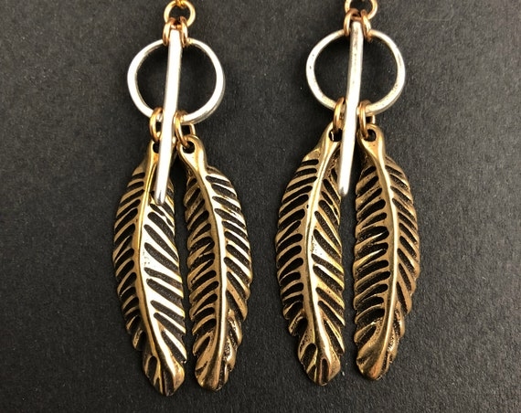 Bronze feather earrings with silver accents