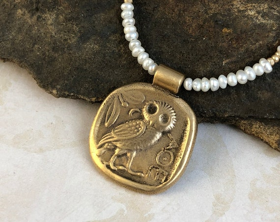 Historically Inspired Athena Coin Pendant with freshwater pearls