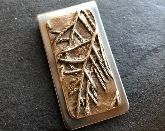 Money Clip with bronze spruce twig detail