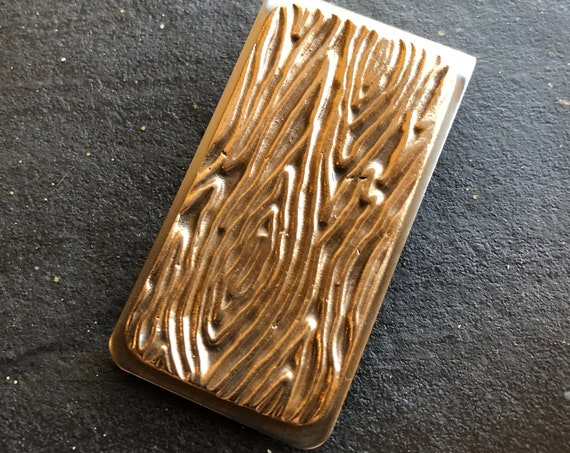 Money Clip with bronze woodgrain detail