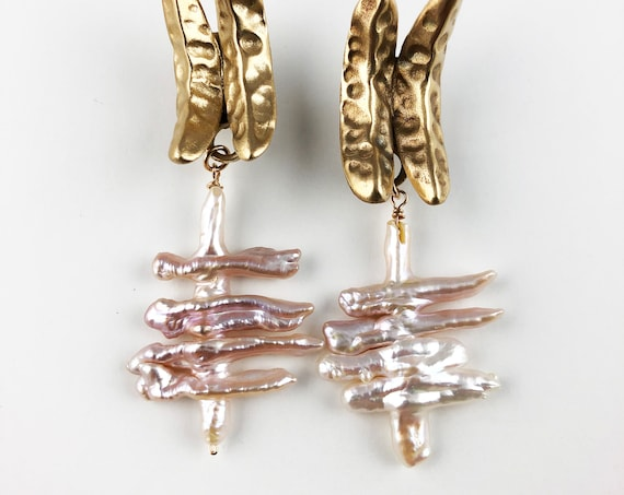 Hand sculpted dimpled bronze post earrings with Pearls