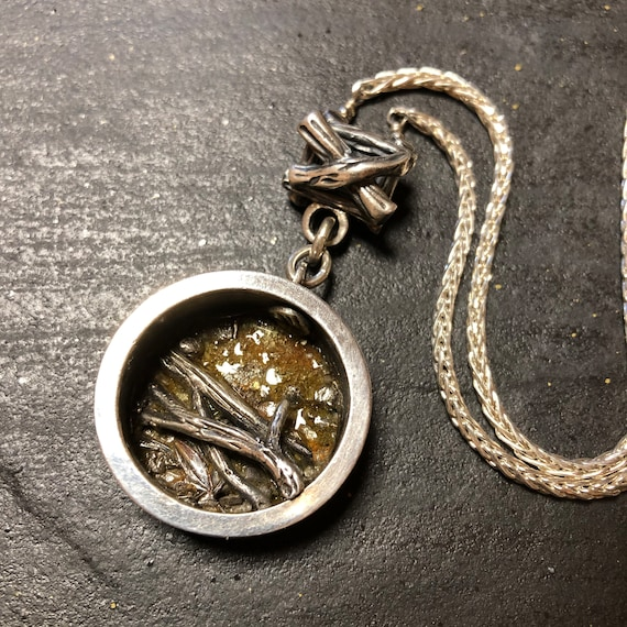 Sculpted Silver Picture Frame Pendant with Twigs