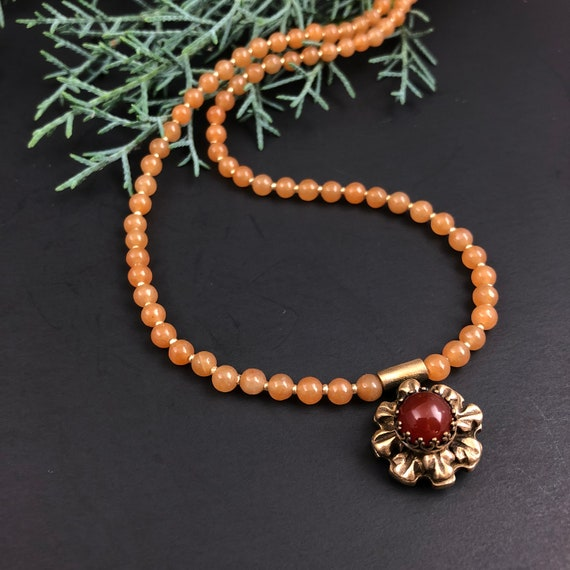 Historically Inspired Carved Bronze and Carnelian Necklace