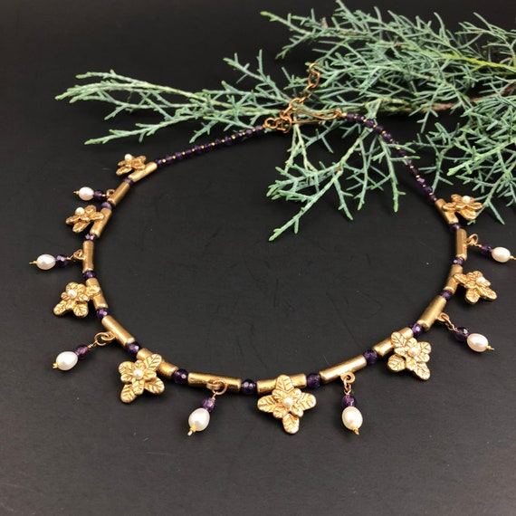 Historically Inspired Amethyst drop collar necklace.