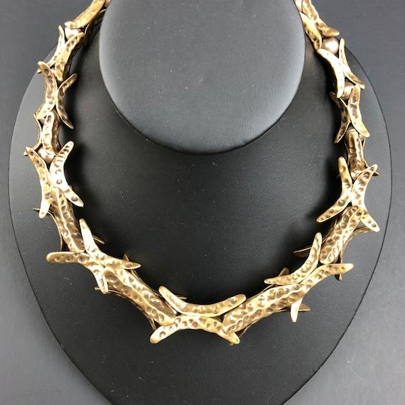 Hand sculpted bronze florette necklace