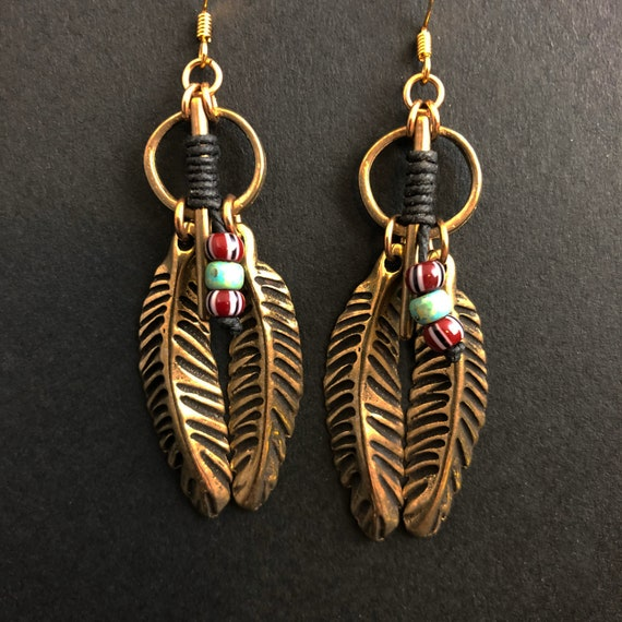 Bronze Feather Earrings with pony bead accents