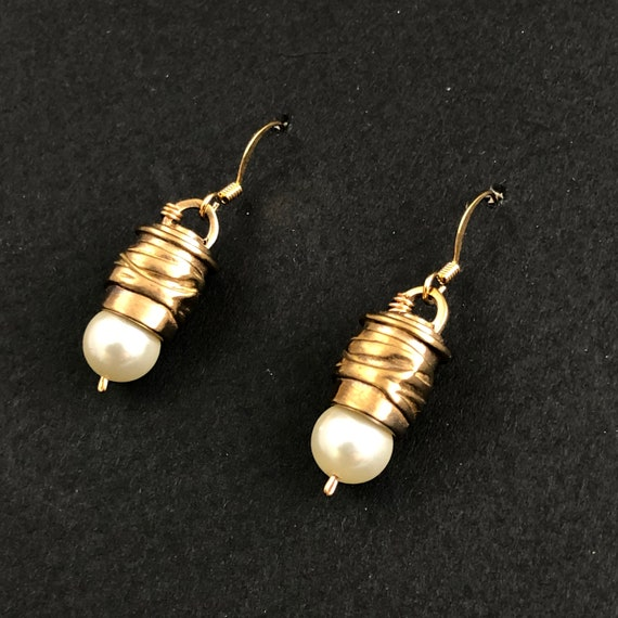 Bronze and Pearl Earrings with wire ear hooks