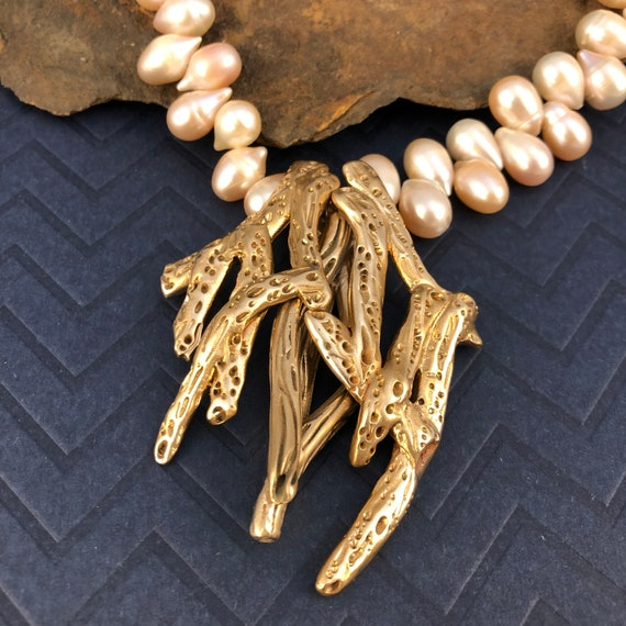 Bronze branch necklace with freshwater pearls