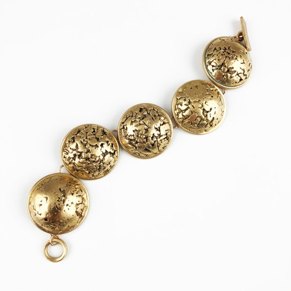 Bronze nugget domed link bracelet