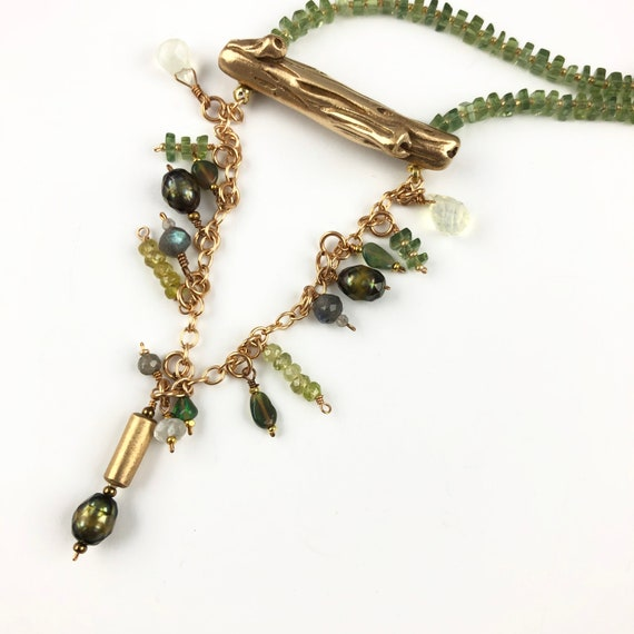 Branch with Green Tourmaline and pearl cluster
