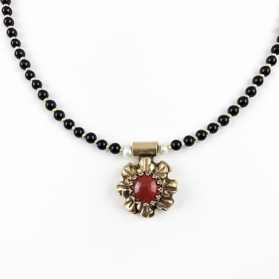 Historically Inspired Carved Bronze and Red Jasper and Onyx Necklace