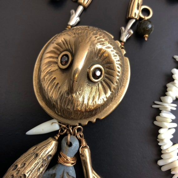 Hand Sculpted, hand colored bronze owl and feather necklace