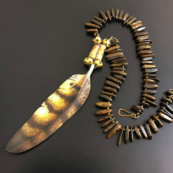Hand Sculpted, hand colored bronze feather Necklace