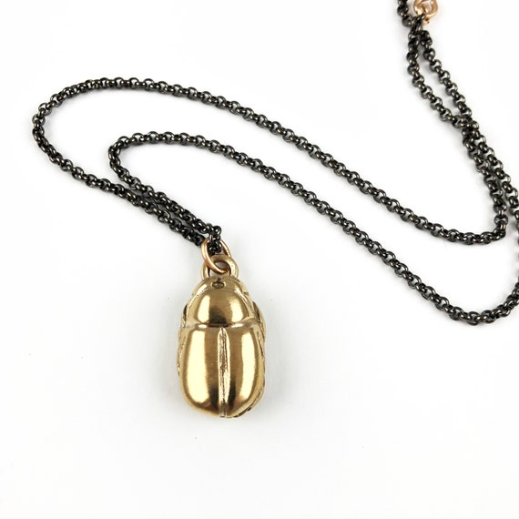 Bronze Scarab Pendant Necklace