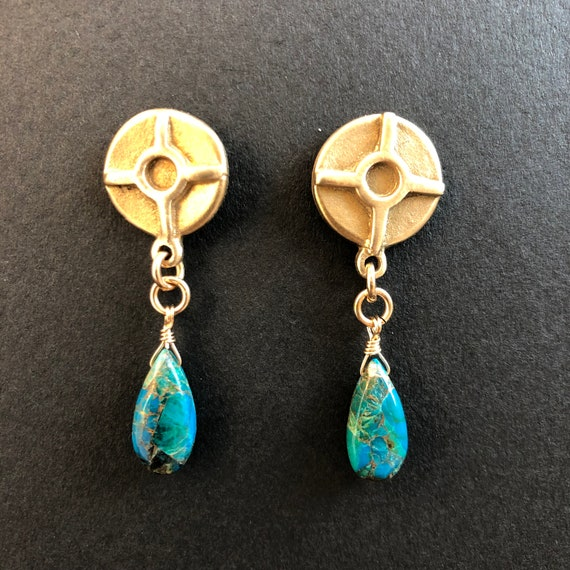 Bronze Post Earrings with Chrysocolla