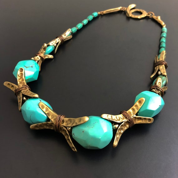 Hand sculpted bronze beads with large turquoise nuggets