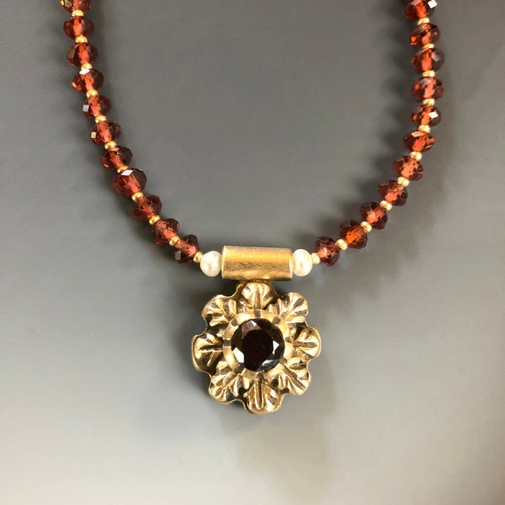 Historically Inspired Carved Bronze and Garnet Necklace