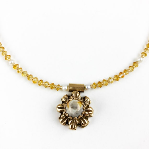 Historically Inspired Carved Bronze and Citrine Necklace