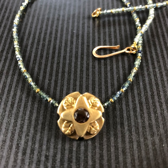 Historically Inspired Carved Bronze, gemstone Necklace