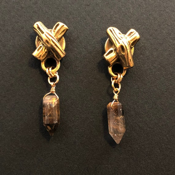 Bronze twigs with quartz points earrings