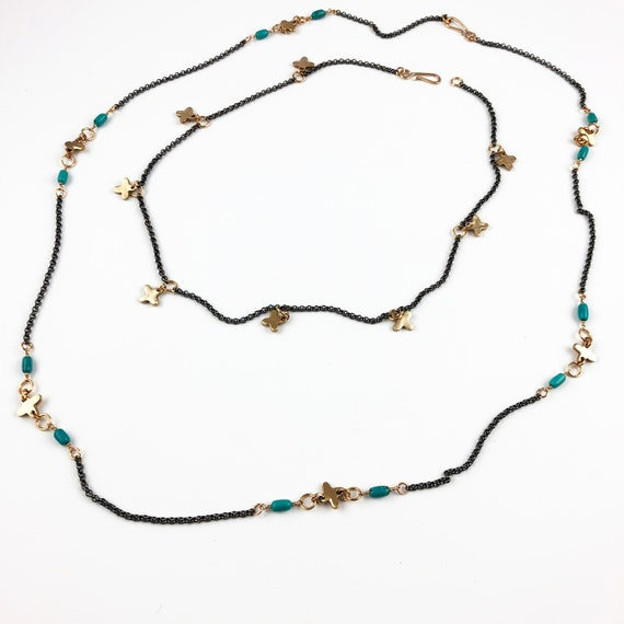 2 strand set - bronze disc with turquoise beads and steel chain