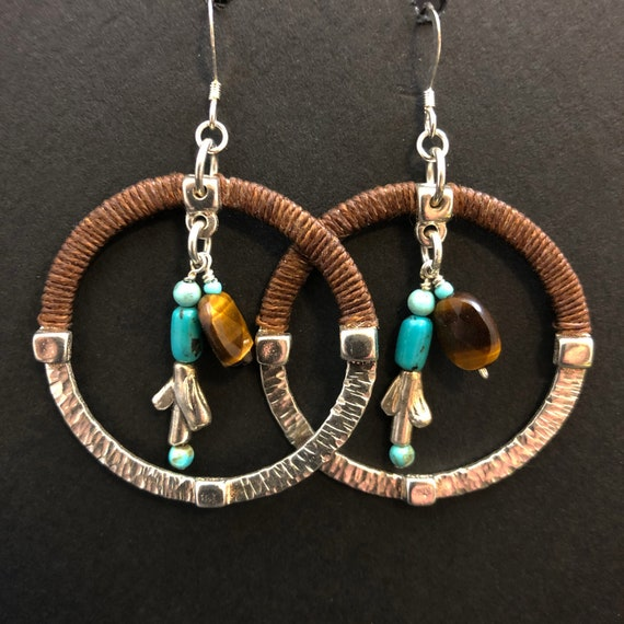 Sterling silver hoops with turquoise and tiger's eye