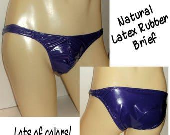 4547dbe127d4b Men s Bikini Brief Sewn Natural LATEX RUBBER Shiny Jelly Colors Fetish Kinky  Exotic Wild Underwear Clear or Opaque Fantasy Wear Sexy Fun
