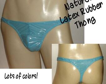 b3d0e141ce7da Men s Bikini Thong Sewn Natural LATEX RUBBER Shiny Jelly Colors Fetish Kinky  Exotic Wild Underwear Clear or Opaque Fantasy Wear Sexy Fun