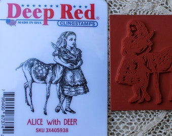 Alice with Deer Rubber Stamp Deep Red Cling Unmounted Wonderland