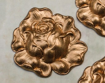 "Rose Brass Stamping 1.5"" Floral Pattern"