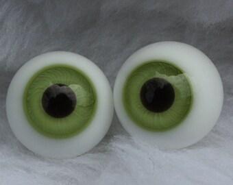 17mm Glass Doll Eyes Antique German Green
