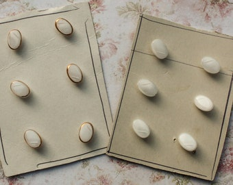 6 Vintage White Glass Buttons on a card, oval blouse buttons 1/2 inch 11 mm