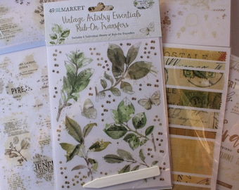 Rub-Ons 49 and Market Artistry Essentials transfers 6 sheets Sage Leaves Quotes Collage Elenents