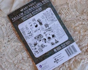 Vellum Journaling Pad Art Daily Finnabair Vintage Stories Decorative Paper 4.5 x 7 inch