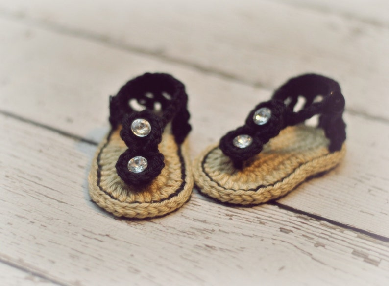 f934247d405 Crochet Baby Sandals Baby Gladiator Sandals Black Sandals