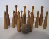 Antique Children 39 s Small Wooden Toy Skittles Bowling Pins with Ball