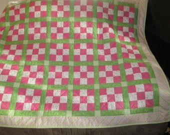 Pink Green Nine Patch Kid Quilt
