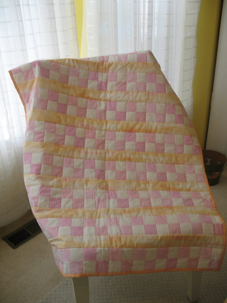 Pink and Orangle Little Girl Quilt