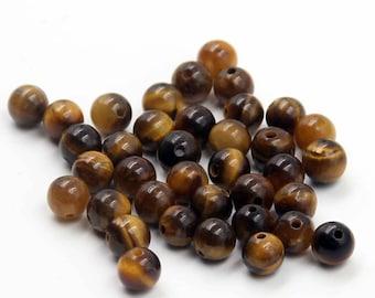 6mm 120Pcs Yellow Tiger Eye Gem Beads Loose Finding For Handwork-- ja2022