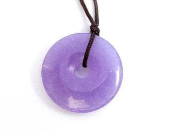 Lavender Gem Stone Peace Button Buckle Amulet Pendant Good Luck 27mm x 27mm  T3133