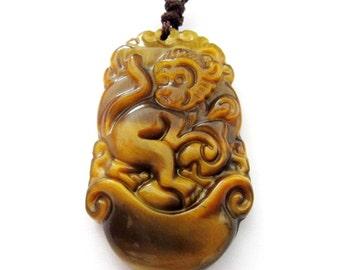 Tiger Eye Gem Chinese Zodiac Monkey Amulet Pendant Talisman Jewelry 34mm*21mm  T3012-9
